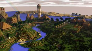 [Rendered|1080p] Minecraft Pretty Landscape by SyncedsArt