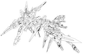 Gundam OO Lineart by GoddessMechanic