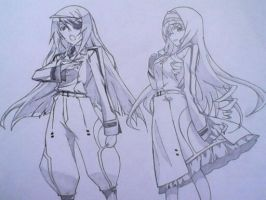 Laura and Cecilia from INFINITE STRATOS by chris-reen