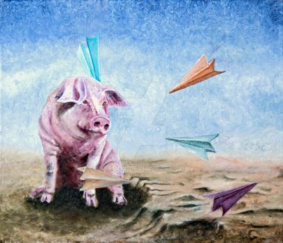 Pig and Paper Planes by Sproox