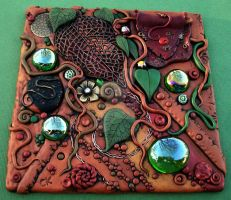 Forest Floor Polymer Clay Tile by MandarinMoon
