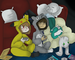 Game night with Sans and the Dreemurr's kids! by MissWeirdoArt
