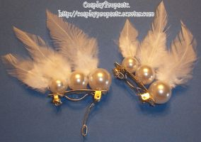 SM Feather Pearl hair clips by CosplayPropsEtc