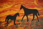 Horses in sunset acryl with silhouette art by ingeline-art