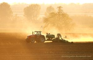 Tractor and Sunset by Desintegrator