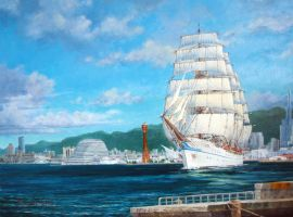 Sailing Ship in oils by temma22