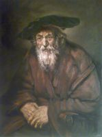 Portrait of an Old Jew by mhairya