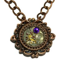 Steampunk Pendant with Heliotrope Crystal by CatherinetteRings