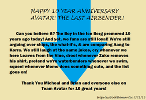 10 Years of Avatar by HopelessBookRomantic