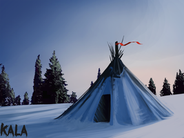 Teepee in Snow by KalaBerry