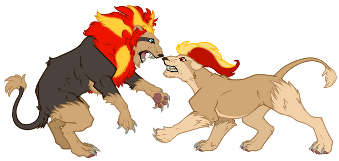 Pyroar: Magnus and Bruni by JustaMerc