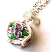 Lavender Rose Cake Necklace by FatallyFeminine