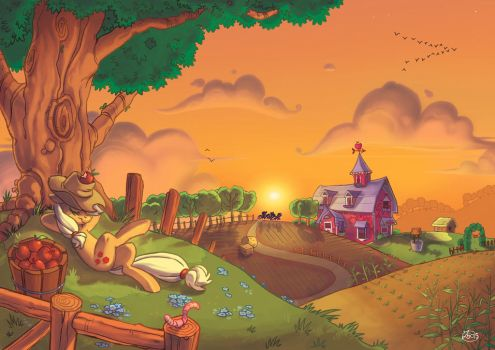 late afternoon in Sweet Apple Acres by theZeo