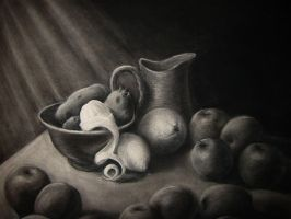 Charcoal still life by Fenster