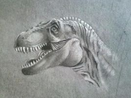 T-rex in charcoal by ronnietucker