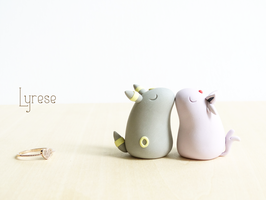 Espeon + Umbreon Polymer Clay Cake Topper by lyrese