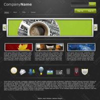 Website Layout-Green and Grey by zedi0us