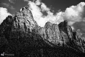 The Cliffs of Zions BW by mjohanson