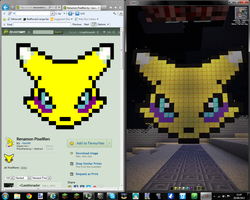 :minecraft: First pixel art: Renamon by NyinxDeLune