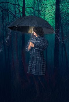 Girl in the rainy forest by flockenpracht