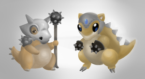 Cubone and Sandshrew by E-raserhead