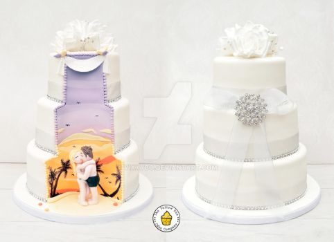 Fiji Hidden Scene Wedding Cake by Vixxybo