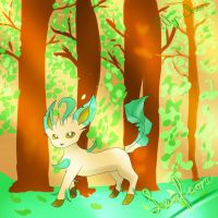 Leafeon in forest by Lillyrosejamie
