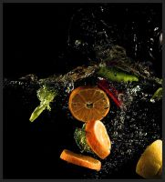 Bathing Fruits and Veggies by Asuriel