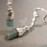 Rough Emerald and sterling by Jealousydesign
