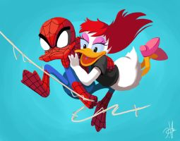 Spider-duck N Daisy Jane by chikinrise