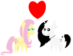 :Gift: Bouncy Fluttershy and Ghostdude Chibis by Cookie-Dough-Batter