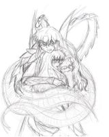 Naraku and Kagome by Ethril-Dragon