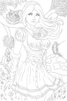 Alice's Adventures in Wonderland (Lineart) by ronggo