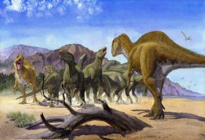 Altispinax dunkeri and Iguanodon by atrox1