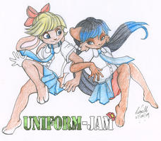Uniform Jam - Holly and Alaina by leotheyardiechick