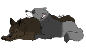 Wolf Cuddles by SolitaryGrayWolf