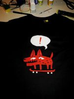 exalted red dog in skate - tshirt by peerro