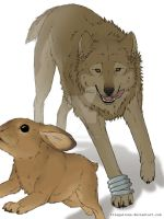 wolf n bunny by Luphin