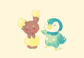 Buneary and piplup! by PandyCookiez