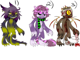 Monster adoptable set 1 -Closed!- by Carnival-Cannibal