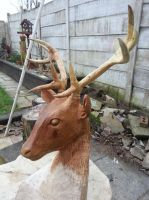 mounted stag head sculpture by simon patel by simondrawme
