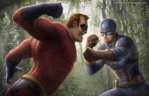 Mr. Incredible vs Captain America by SamDelaTorre