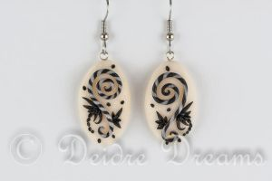 Black and White Spiral Earrings by DeidreDreams