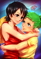 commission - Zoro x Luffy by CherryInTheSun