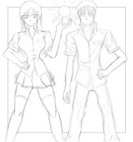 Main Character with Friend (SKETCH) by AzureDevilXENO