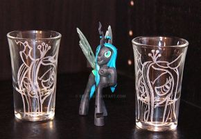 Queen Chrysalis shot glasses by rtry