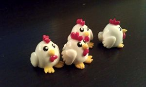 Chicken Beads Polymer Clay by StarfallAtDusk