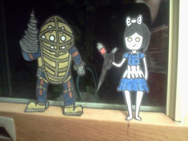 Big Daddy and Little Sister Paper Children by xxBrandy