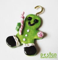 Lime Gingerbread Boy Handmade Candy Ornament by Graphix-Goddess