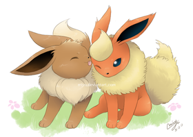 Eevee and Flareon by miyu96